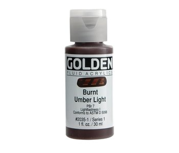 Golden 1Oz Fluid Burnt Umber Light Series 1 Artist Acrylic Paint