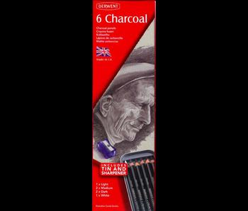 DERWENT 6 CHARCOAL TIN