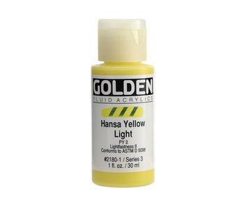 Golden 1Oz Fluid Hansa Yellow Light Series 3 Artist Acrylic Paint
