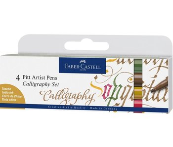 Faber Castell Pitt Artist Pen India Ink Calligaphy Set 4 Colours
