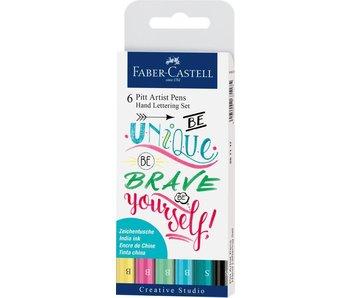 Faber Castell 6ct Wallet Pitt Artist Pen Handlettering I