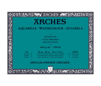 ARCHES WATERCOLOUR 10 Sheet BLOCK COLD PRESS CP 300LB 10x14 -