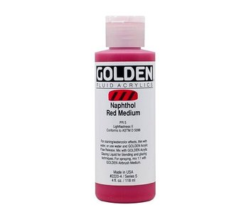 Golden 4Oz Fluid Naphthol Red Medium Series 5 Artist Acrylic Paint
