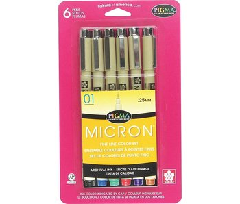 MICRON 01 BASIC COLORS 6 SET