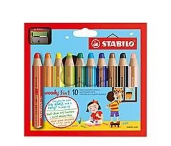STABILO WOODY COLORED PENCIL 10PK W/ SHARPENER