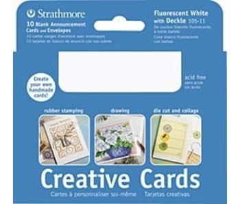 STRATHMORE CREATIVE CARDS FLUORESCENT WHITE DECKLE 10PK