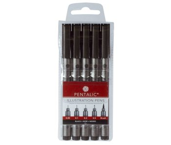PENTALIC ILLUSTRATION PENS SET 5PK BLACK