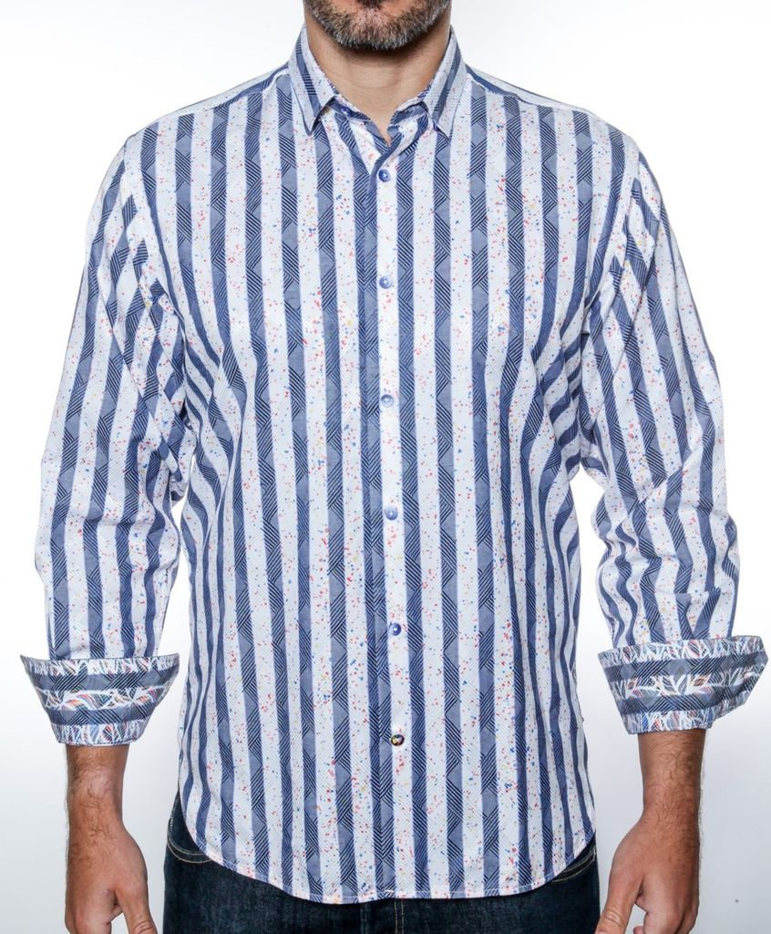 Luchiano Visconti LV STRIPE DIAMOND L/S SHIRT