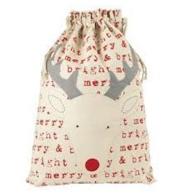MUD PIE REINDEER GIFT SACK