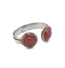 JANYA COLLECTION DUAL STONE ARROW OPEN CUFF RED ONYX