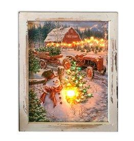 GLOW DECOR CHRISTMAS TREE FARM 8X10 CANVAS SHADOW BOX
