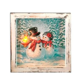 GLOW DECOR SNOW MUCH IN LOVE 8X8 LIGHTED CANVAS SHADOW BOX
