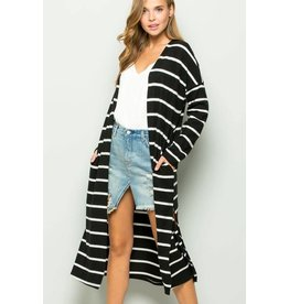 Stripe Mohair Knit Cardigan