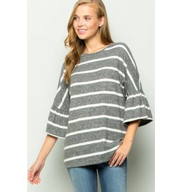 BELL SLEEVES STRIPE MOHAIR KNIT TOP