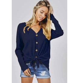 Long Sleeve Front Knot Thermal Buttoned Top