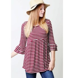 STRIPE TOP WITH RUFFLE SLEEVE AND HEM DETAIL