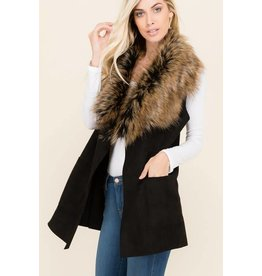 FUR COLLAR SOLID SUEDE VEST W/POCKETS