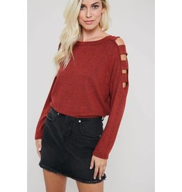 MARLED KNIT LADDER CUTOUT SHOULDERS TOP