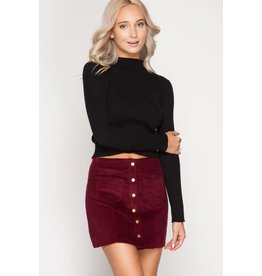 CORDUROY MINI SKIRT W/ FRONT BUTTONS