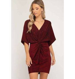 BATWING SLV METALLIC KNIT DRESS W/ FRONT TWIST