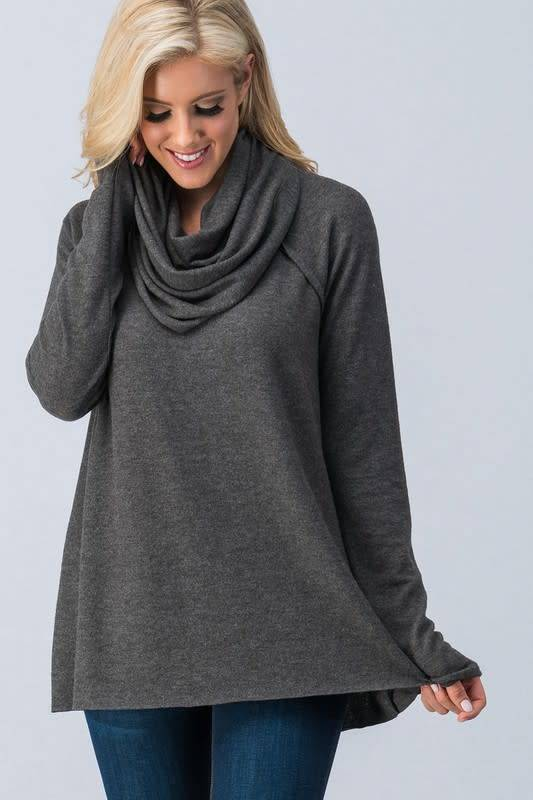 BRUSHED KNIT SOLID COWL NECK TOP