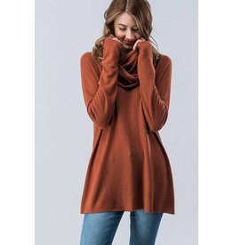 BRUSHED KIT SOLID COWEL NECK SWEATER