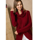 SUPLICE COWL NECK BUTTON ACCENT LONG SLEEVE SWEATER
