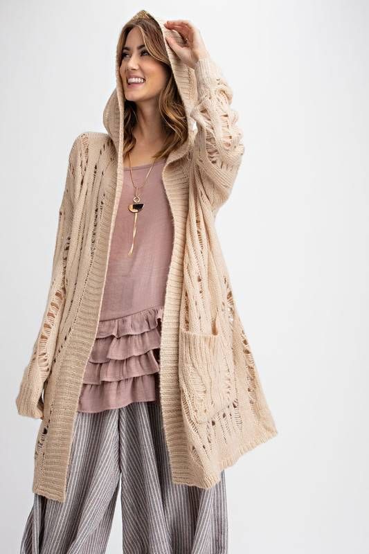 SELF DISTRESSED LT WEIGHT CARDIGAN
