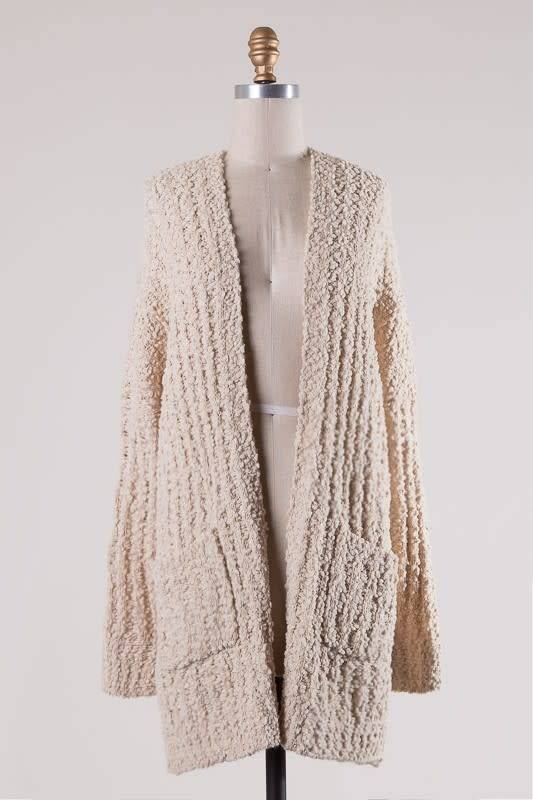 MIRACLE RIBBED CABLE KNIT SWEATER CARDIGAN