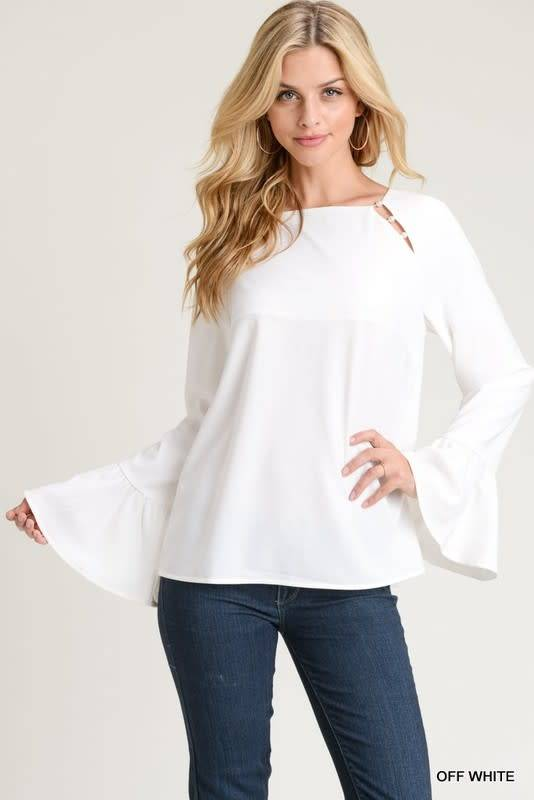 PEARLED BELL SLEEVE TOP