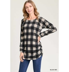 BUFFALO CHECK RUCHED TOP