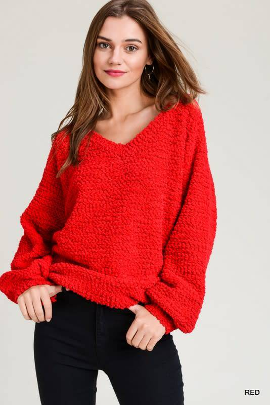 BOUCLE VNECK BUBBLE SLEEVE SWEATER