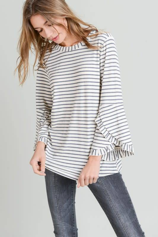 RUFFLE DETAILED L/S TOP
