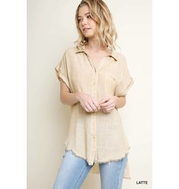6096609acff WASHED BUTTON UP TOP W  FRAYED HEMLINE