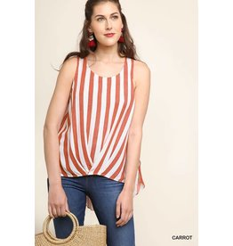 STRIPED LEEVELESS HI/LO TOP