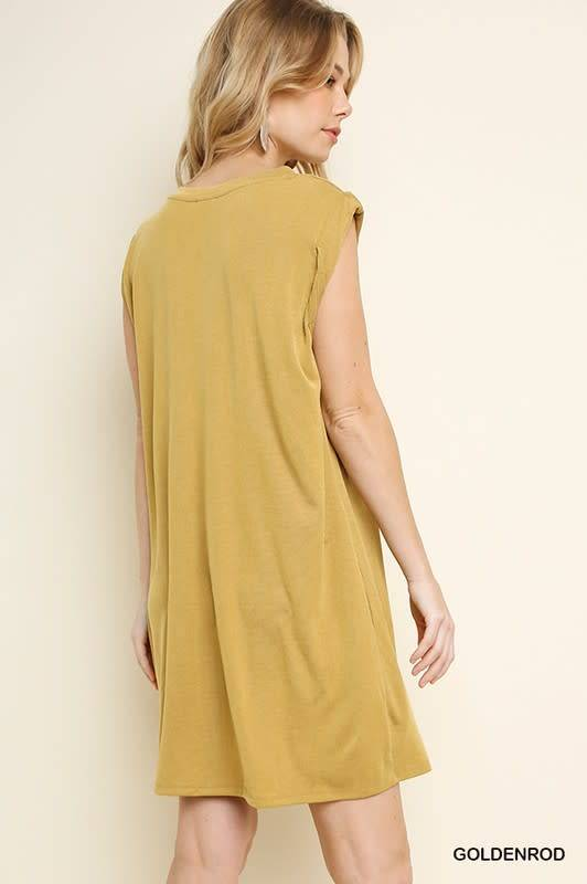 RIBBEDCUPRO VNECK POCKET DRESS