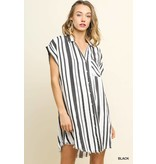 STRIPED COLLARED BUTTON UP DRESS