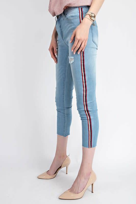 ATHLETIC TAPE CROPPED DENIMI SKINNIES