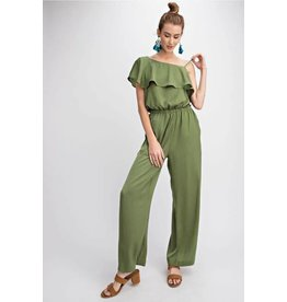 0945097c84f ONE SHOULDER SATIN RUFFLE JUMPSUIT