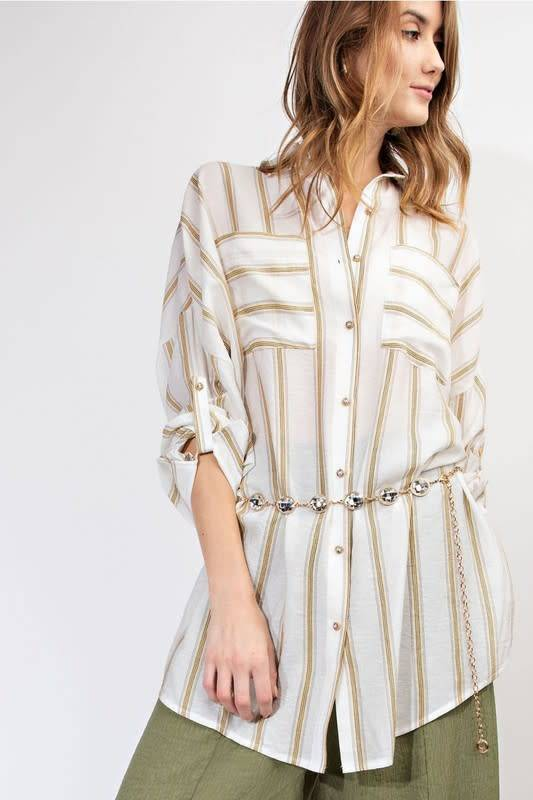OVERSIZED STRIPED BUTTON DOWN SHIRT
