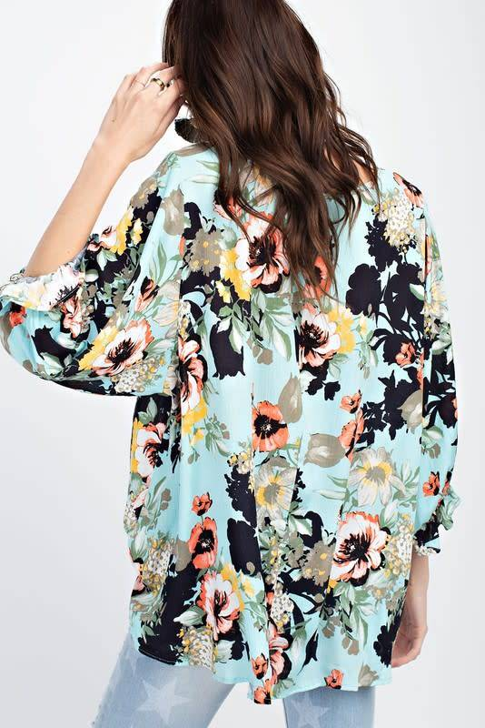 PRINTED RAYON GAUZE LOOSE FIT BLOUSE