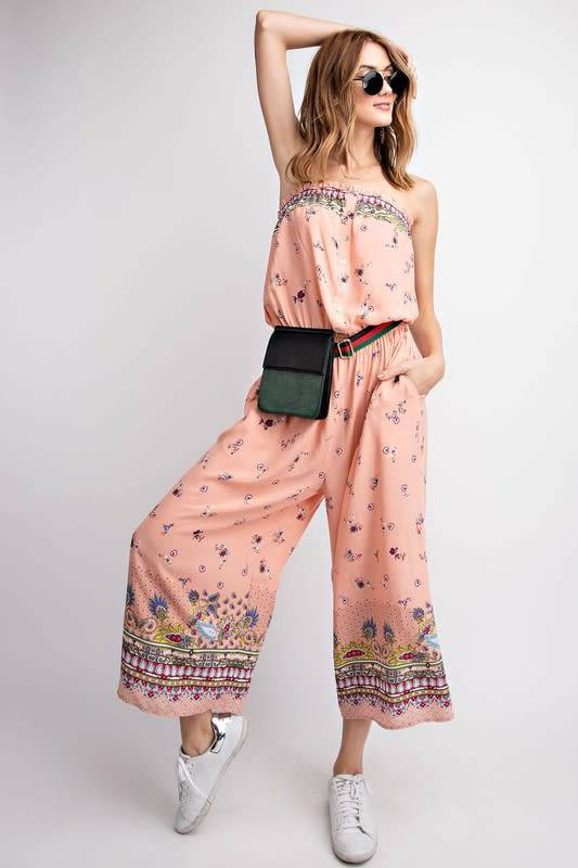 PRINTED TUBE TOP WIDE LEG JUMPSUIT