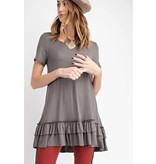 S/S ROUND NECK DOUBLE RUFFLE TUNIC