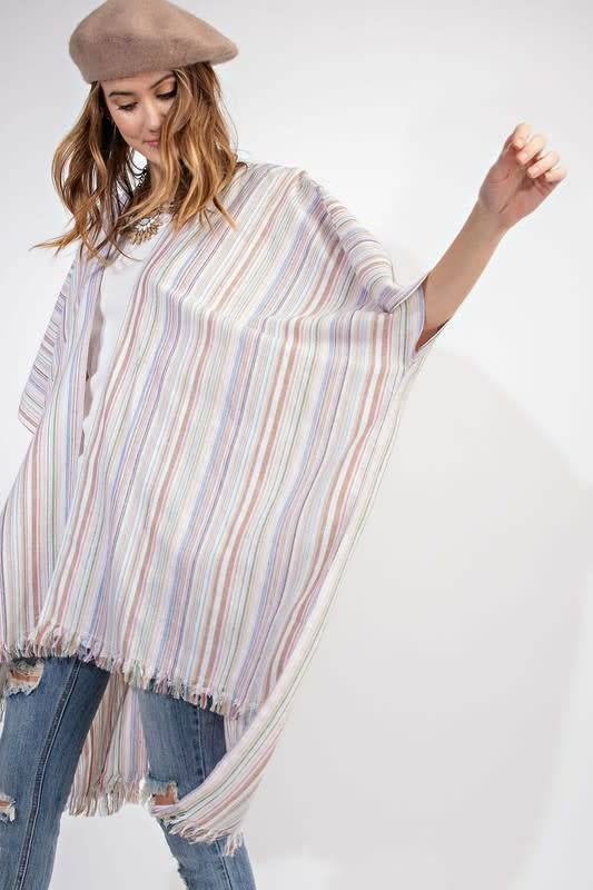 STRIPED LINEN SELF FRAYED LONG KIMONO