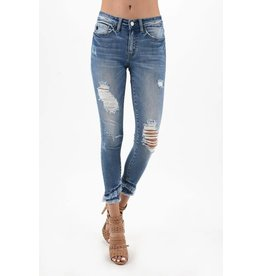 KAN CAN FRAYED CROP DISTRESSED JEANS 6204M