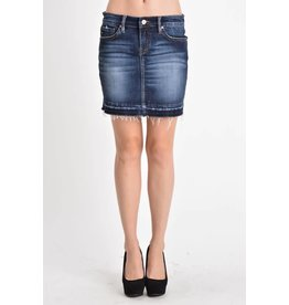 KAN CAN FRAY BOTTOM DENIM MINI SKIRT