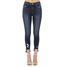 "KAN CAN UNEVEN FRAYED CUFF JEANS 26"" INSEAM 8395D"