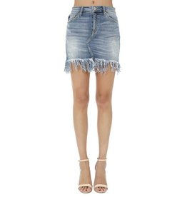 KAN CAN FRINGE HEM DENIM SKIRT