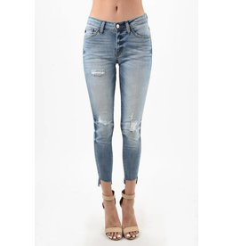 "KAN CAN DISTRESSED FADED CROP JEANS 27"" INSEAM 8369YT"
