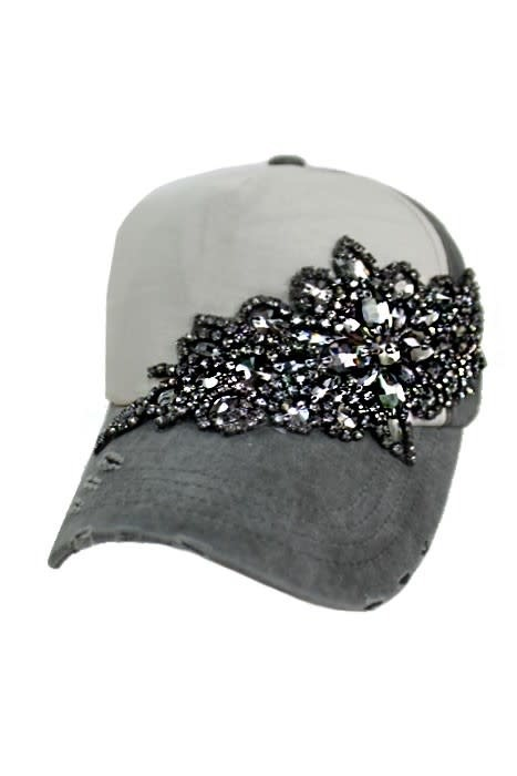CAP ZONE FLOWER RHINESTONE TWO TONE CAP